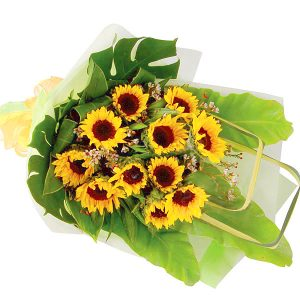 Birthday flowers Shah Alam Malaysia - Hand bouquet BRIGHTLY sunflower