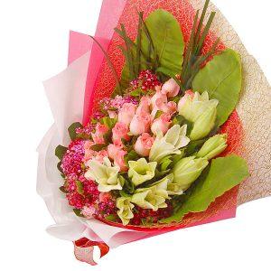 Hand Bouquet Kuala Lumpur Malaysia - Valleria lilies roses flower bouquet