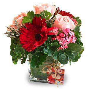 simple flower arrangement Malaysia - Alluring Rosy gerberas roses flower bouquet