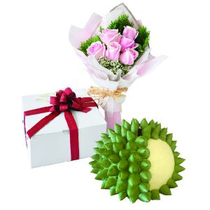 Cake Flower Combo - Durian King, VegetarianCake Flower Combo - Durian King, Vegetarian