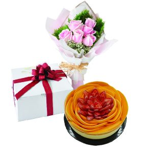 Cake Flower Combo - Mango Berries Cheese, Vegetarian