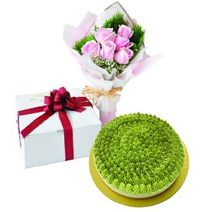 Cake Flower Combo - Matcha Green Tea Cheese, Vegetarian