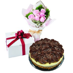 Cake Flower Combo - Nutty Ganache Chocolate Cheese. Vegetarian