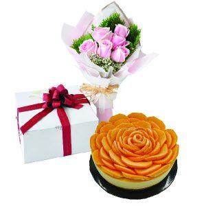 Cake Flower Combo - Peachy Mango Cheese, Vegetarian
