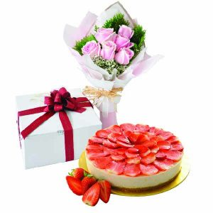 Cake Flower Combo - Strawberry Cheese, Vegetarian