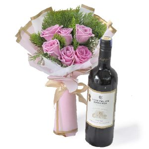 Wine Gift Delivery KL Malaysia - Rosy Wine Flower Gift