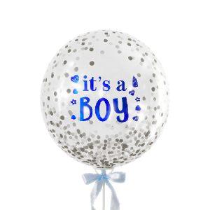 Baby Boy Big Glittery - Bubble Balloon Malaysia Bobo Balloons